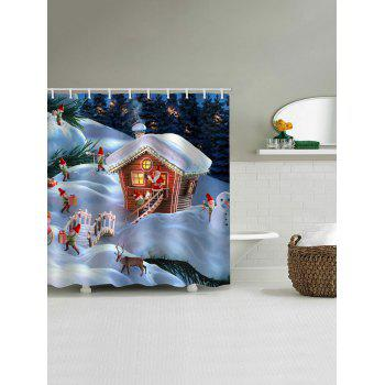 Christmas Gift House Print Waterproof Shower Curtain - WHITE W65 X L71 INCH