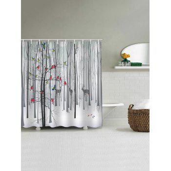 Cartoon Birds Forest Print Waterproof Shower Curtain - WHITE W65 X L71 INCH