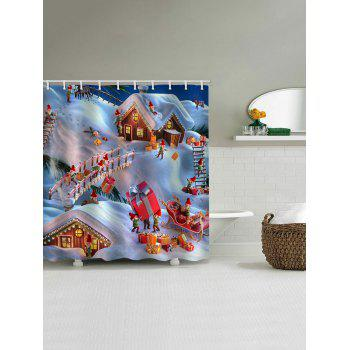 Christmas Gift Town Print Waterproof Shower Curtain - multicolor W65 X L71 INCH