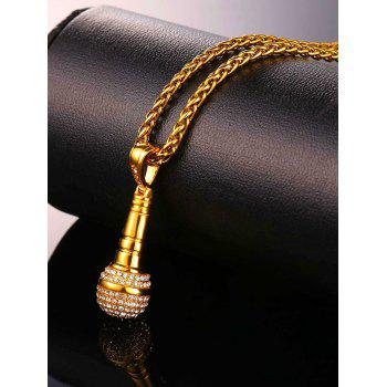 Rhinestone Microphone Pendant Necklace - GOLD