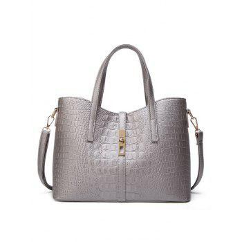 Crocodile Print 3 Pieces Tote Bag Set - GRAY