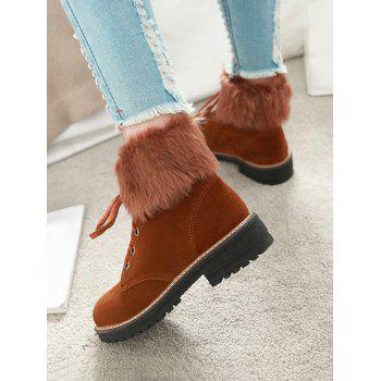 Plus Size Faux Fur Chunky Heel Short Boots - BROWN 37