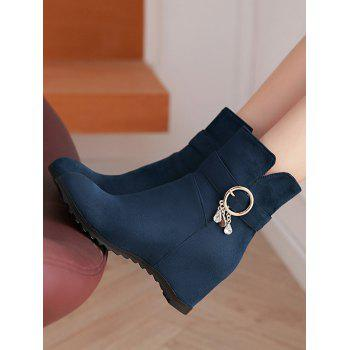 Plus Size Hidden Wedge Circle Buckle Ankle Boots - DARK SLATE BLUE 36