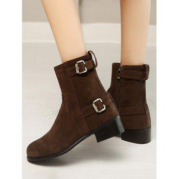 Plus Size Buckle Strap Flat Short Boots - DEEP BROWN 43
