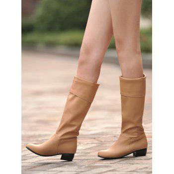 Plus Size Solid Color Fold Over Mid Calf Boots - CAMEL BROWN 42