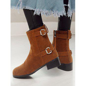 Plus Size Buckle Strap Flat Short Boots - LIGHT BROWN 38