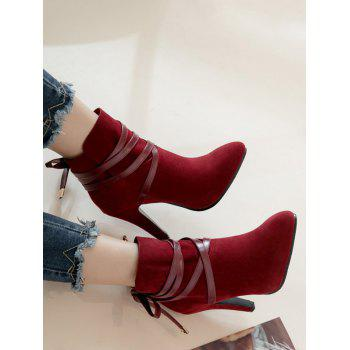 Plus Size Bowknot High Heel Ankle Boots - RED WINE 38
