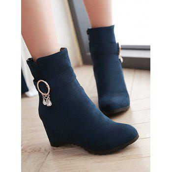 Plus Size Hidden Wedge Circle Buckle Ankle Boots - DARK SLATE BLUE 39