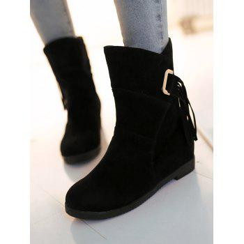 Plus Size Tassels Sewing Ankle Boots - BLACK 38