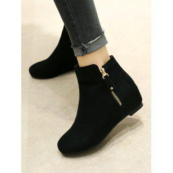 Plus Size Suede Solid Color Ankle Boots - BLACK 41