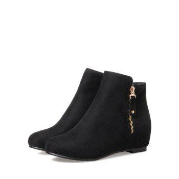 Plus Size Suede Solid Color Ankle Boots - BLACK 36