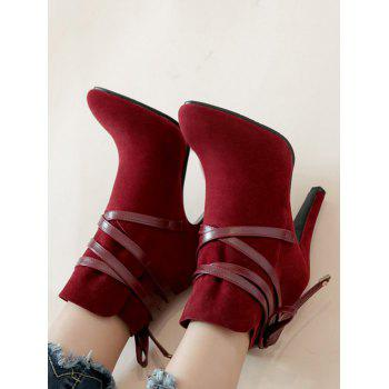 Plus Size Bowknot High Heel Ankle Boots - RED WINE 41