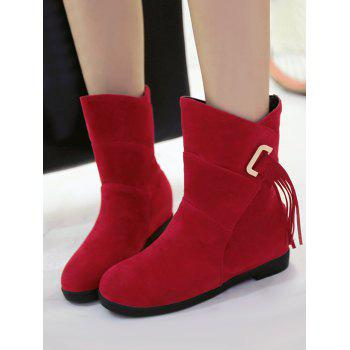 Plus Size Tassels Sewing Ankle Boots - RED WINE 41