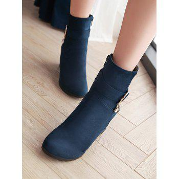 Plus Size Hidden Wedge Circle Buckle Ankle Boots - DARK SLATE BLUE 38