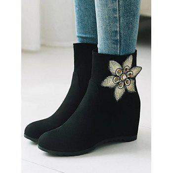 Plus Size Flower Embellished Suede Ankle Boots - BLACK 39