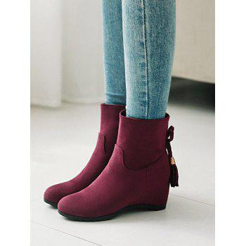 Plus Size Suede Tassels Embellished Ankle Boots - MEDIUM VIOLET RED 40