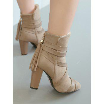 Plus Size Cross Strap Pointed Toe Ankle Boots - LIGHT KHAKI 37