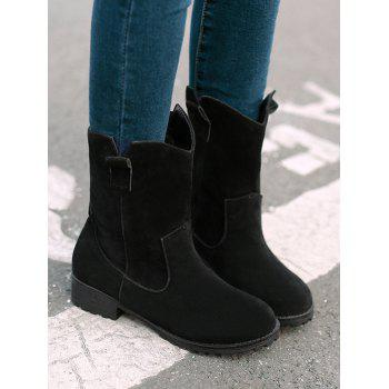 Plus Size Solid Color Suede Ankle Boots - BLACK 40