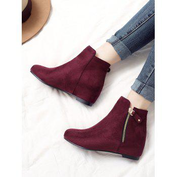 Plus Size Suede Solid Color Ankle Boots - TULIP PINK 39