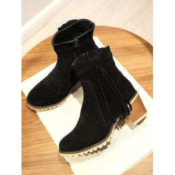 Plus Size Chunky Heel Suede Short Boots - BLACK 39