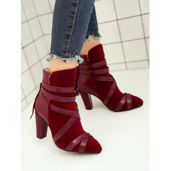 Plus Size Cross Strap Pointed Toe Ankle Boots - RED WINE 42