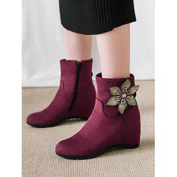 Bottines en daim à ornements de grandes tailles - Rose Tulipe 42