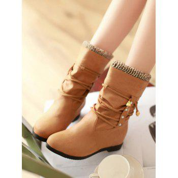 Plus Size Lace Wrap Hidden Heel Ankle Boots - LIGHT BROWN 36