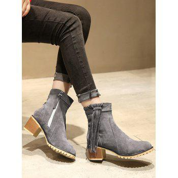 Plus Size Chunky Heel Suede Short Boots - LIGHT SLATE GRAY 37