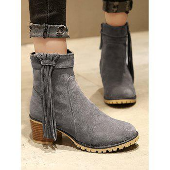 Plus Size Chunky Heel Suede Short Boots - LIGHT SLATE GRAY 38