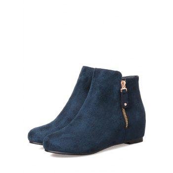 Bottines couleur unie en daim - Marbre Bleu 41