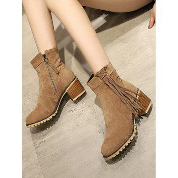 Plus Size Chunky Heel Suede Short Boots - LIGHT BROWN 37