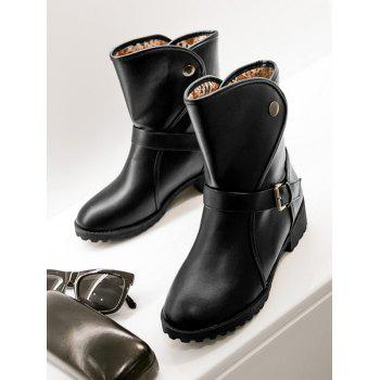Plus Size PU Leather Buckle Strap Boots - BLACK 40