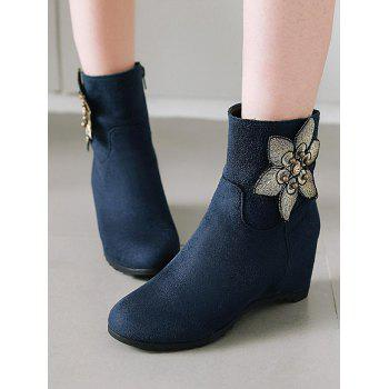 Plus Size Flower Embellished Suede Ankle Boots - DARK SLATE BLUE 39