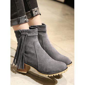 Plus Size Chunky Heel Suede Short Boots - LIGHT SLATE GRAY 40