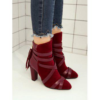 Plus Size Cross Strap Pointed Toe Ankle Boots - RED WINE 41