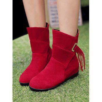 Plus Size Tassels Sewing Ankle Boots - RED WINE 37