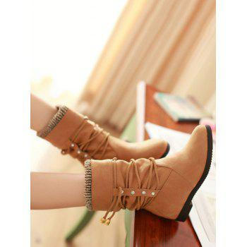 Plus Size Lace Wrap Hidden Heel Ankle Boots - LIGHT BROWN 43