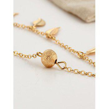 Metal Leaf Double Layers Ankle Bracelet - GOLD