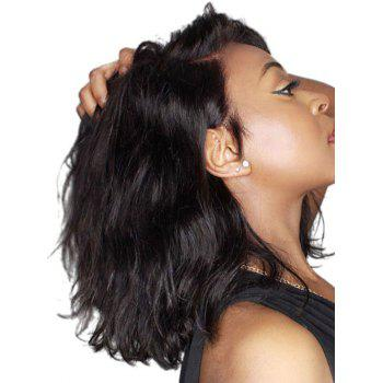 Medium Side Parting Natural Wavy Party Synthetic Lace Front Wig - BLACK 14INCH