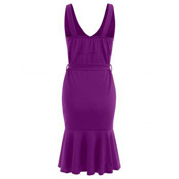 Ruffle Hem Plunge Mid Calf Dress - PURPLE XL