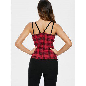 Gothic Plaid Double Straps Corset Tank Top - RED WINE M