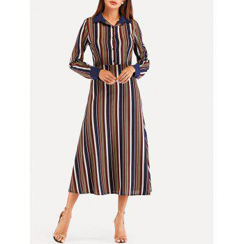 Striped Midi High Waist Dress - multicolor M