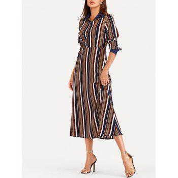 Striped Midi High Waist Dress - multicolor XL
