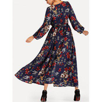 Bohemian Floral Print Slit Maxi Dress - MIDNIGHT BLUE M