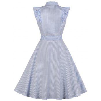Sleeveless Plus Size Striped A Line Dress - SKY BLUE 4X