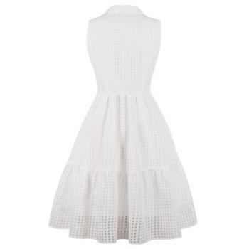 Sleeveless Plus Size Gingham A Line Dress - WHITE 4X