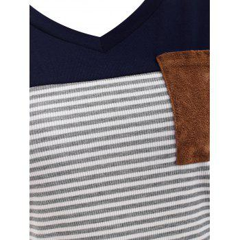 Breast Pocket Striped Panel T-shirt - CADETBLUE 2XL