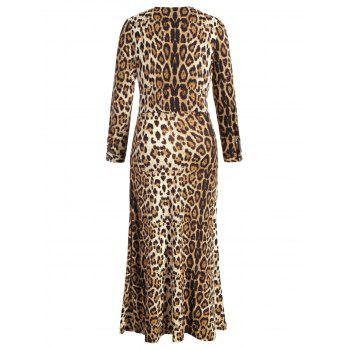 Plus Size V Neck Leopard Maxi Dress - LEOPARD 3X