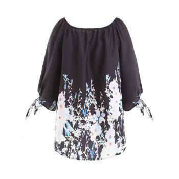 Knot Sleeve Floral Top - BLACK 2XL