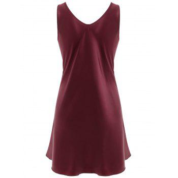 Lace Panel Sleeping Dress - RED WINE L